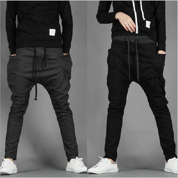 Men's Casual Slim Drawstring Printing Sport Harem Pants Slacks. [7957517959]