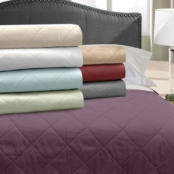 Veratex Home Indoor Bedroom Supreme Stn 500Tc Blanket Coverlet Full/Queen Mulberry