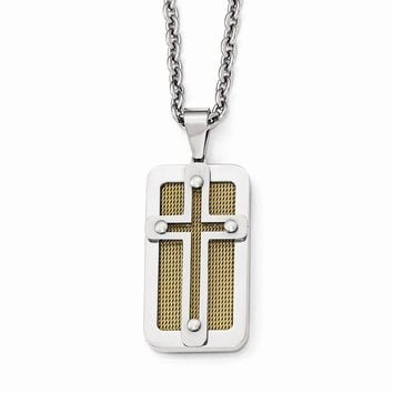 Stainless Steel Polished Yellow Ip-plated Wire Inlay Cross Necklace