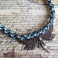 Necklace- Turquoise and White Hemp Cord Choker with Dragonfly Charm