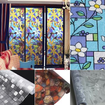 45*100cm Static Cling Cover Stained Flower Window Film Glass Privacy Home Decor
