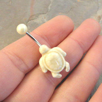 Ivory Turtle Belly Button Ring Jewelry