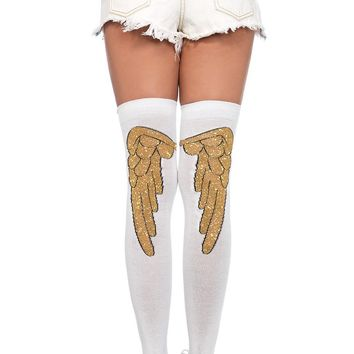 Lurex angel wing over the knee socks