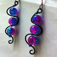 two toned pink and blue crackle glass squiggle earrings teen gifts fun jewelry