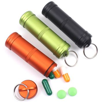 Outdoor Travel Compact Size Aluminum Waterproof Medicine Storage Case Container Portable Pill Box Organizer FY0027