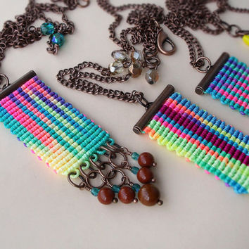 Bright micro macrame necklace, pendant - Rainbow Watercolor Bohemian Fringe 1 pc