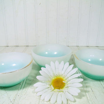 Vintage Fire King Cereal Bowls Set of 3 - Retro Trio of Teal Blue Green with Gold Band Collection – White Milk Glass OvenWare Dessert Bowls