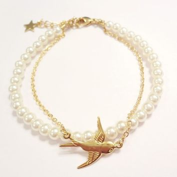 Swallow and Pearls Double Stranded Bracelet