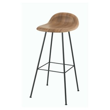 Gubi 3D Bar and Counter Stool - Center Base - Wood Seat