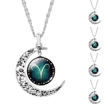Crescent Moon Zodiac Signs Necklaces