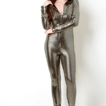 Metallic Sequin Zip-Up Longsleeve Hooded Jumpsuit