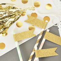 Gold Glitter Straw Flags (Set of 24)
