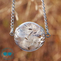 Real Dandelion Seeds antique style glass orb handblown with Long Necklace {Silver}