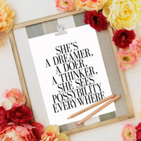 PRINTABLE ART She's A Dreamer typography art print Kate Spade inspirational print A Doer A Thinker monochrome art motivational TYPOGRAPHY