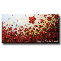 ORIGINAL Art Abstract Painting Red Flowers Poppies Large Canvas Wall Art Textured Landscape Poppy