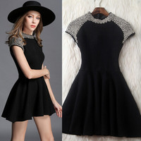 Fashion beaded short sleeve dress
