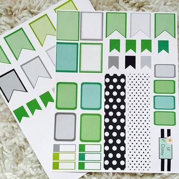 MARCH/GREEN planner stickers | BUNDLE | Erin Condren Inspired