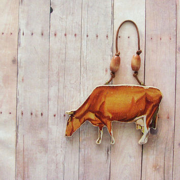 Wood Cow Ornament / Upcycled 50s Handcut UK Wood Piece / Brown Victory Farm Animal Mid Century Rustic Home Decor / OOAK / Gift Under 20