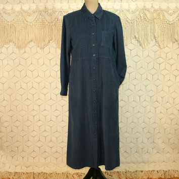 Blue Corduroy Dress Long Sleeve Maxi Petite Medium Fall Winter Dress Casual Button Up Dress Talbots Womens Dresses Vintage Clothing