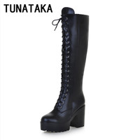 Women's Lace Up Knee High Boots Thick Bottom High Heel Platform Combat Boots Black Brown Blue Plus Size