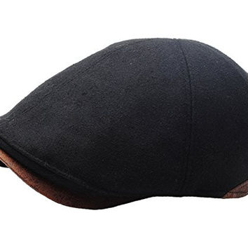 Raon N07 Driving Wool Crack Faux Leather Style Ivy Cap Cabbie Ascot Newsboy Beret Hat (Black)