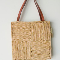 Vintage 70s Beautiful Woven Straw Square Shoulder Handbag bag Purse Tote Mister Ernest