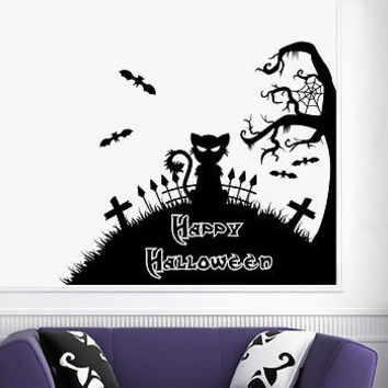 Happy Halloween Tree Wall Decals Black Cat Bats Cemetery Art Home Decor  DA3968