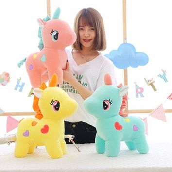 BABIQU 1pc 30/37cm Creative Standing Unicorn With Love Blue Pink Yellow Animal Horse Cute Plush Toy Soft stuffed Child Gifts