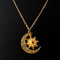 60cm Sun and crescent moon charm necklace Boho Hippie necklace