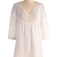 ModCloth Boho Long 3 Cover-up Houseboat Tunic in White