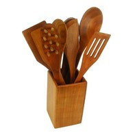 Wooden Cooking Tool set 9 piece Cherry | GrandPrairieWoodworks - Woodworking on ArtFire