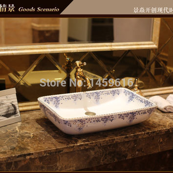 Rectangular Bathroom Lavabo Ceramic Counter Top Wash Basin Cloakroom Hand Painted Vessel Sink 5028