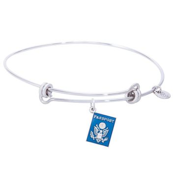 Sterling Silver Balanced Bangle Bracelet With Passport Charm