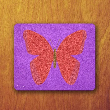 Butterfly Glitter Mouse Pad Beautiful MousePad Office Pad Work Accessory Personalized Custom Gift