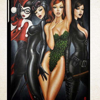 Poison Ivy, Harley Quinn,batgirl and Catwoman  X0796 iPad 2 3 4, iPad Mini 1 2 3, iPad Air 1 2 , Galaxy Tab 1 2 3, Galaxy Note 8.0 Cases