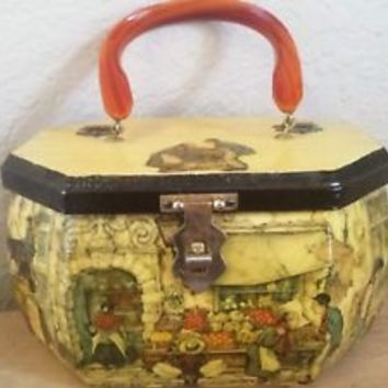 Vintage 1970s Decoupage Anton Pieck Octagonal Wood Box Purse Bag Lucite Handle