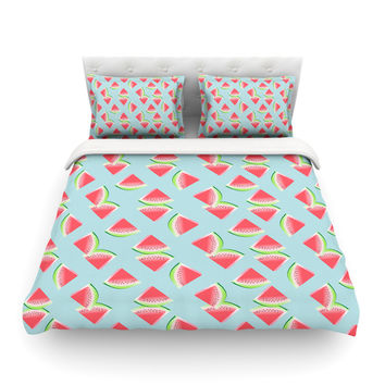 "afe images ""Watermelon Slices Pattern"" Red Blue Illustration Featherweight Duvet Cover"