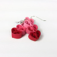 Three Hearts Earrings Heart Earrings for Mothers Day Jewelry, paper quilling heart jewelry, paper anniversary gift for her, mothers day gift