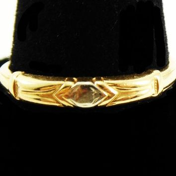 14K Gold Wedding RIng Vintage 1930's 1940's Art Deco Era Band Diamond Shape Center Markings with Flat White Gold Round Circle Something Old