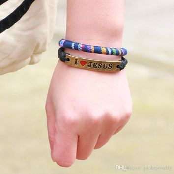 I Love Jesus Leather Bracelets Color Cloth Woven Hemp Rope Bangles For Men Women Jewelry