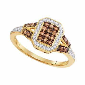 10kt Yellow Gold Womens Round Brown Color Enhanced Diamond Rectangle Cluster Ring 1/3 Cttw