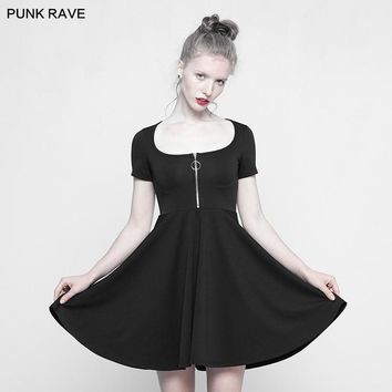 2018 Punk Rock Fashion Lovely A-Line Casual Party Sexy Black Gothic Mini Zipper Women Dress OPQ314
