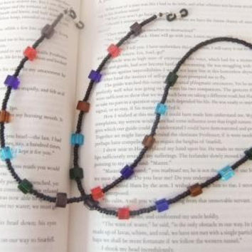 Eyeglass Reading Sunglass Beaded Chain Lanyard Librarian Jewelry Purple Red Blue Brown Aqua Green Glass Cubes Squares Black Seed Beads