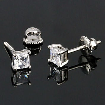 0.75ct 4mm Princess-cut Ice on Fire Simulated Diamond CZ Screw Back Stud Earrings Solid 925 Sterling Silver, 30204-3125A