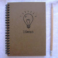 Bright ideas (hand-drawn Light Bulb print) - 5 x 7 journal