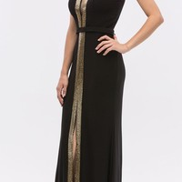 Black/Gold Plunging Neck Sleeveless Fit and Flare Evening Gown