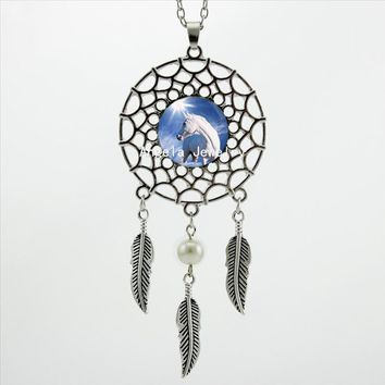Dream Catcher Unicorn Necklace Pendant with Profile Design in Gold, Silver and Bronze Metal Colors
