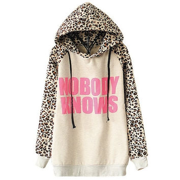 SUNFASHION Women's Fashion Hot Top Cheap Sale Light Grey NOBODY KNOWS Print Hooded Leopard Sweatshirt