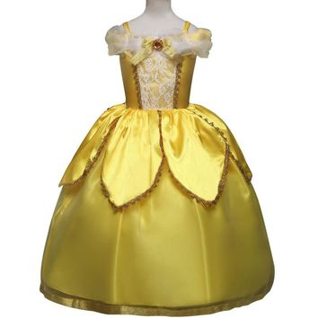 Kids Girls Christmas Costumes Dresses Beauty and The Beast Cosplay Clothing Children Princess Belle dresses