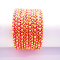 Fuxia Pink cotton wax cord and a gold chain - 6X wrap bracelet